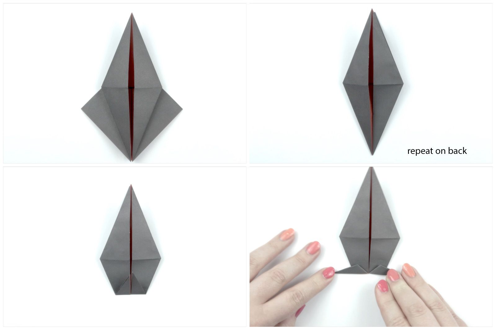 Fold the origami bird legs