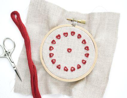 Stitching Tiny Scroll Hearts