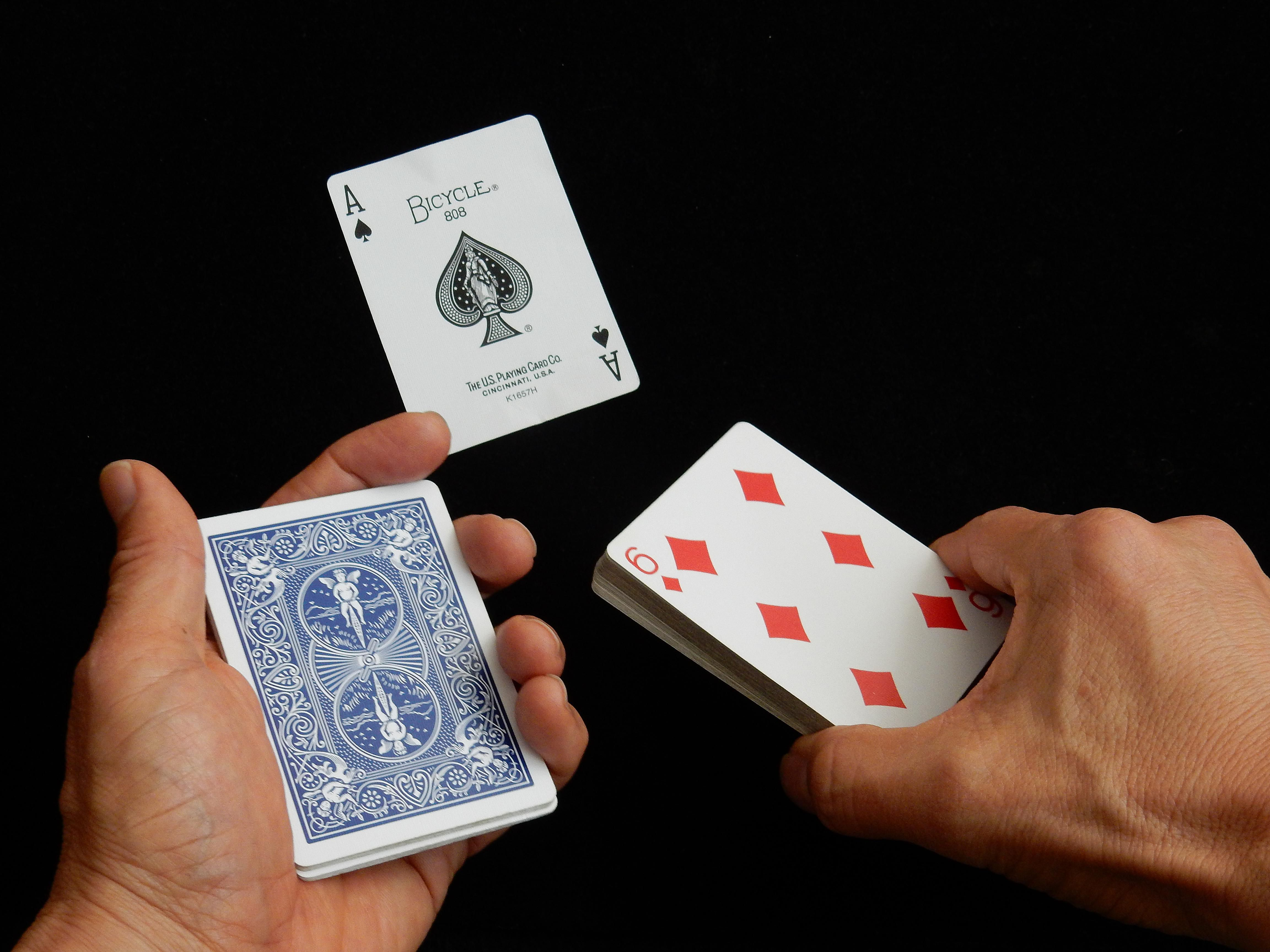 A split deck and an ace of spades