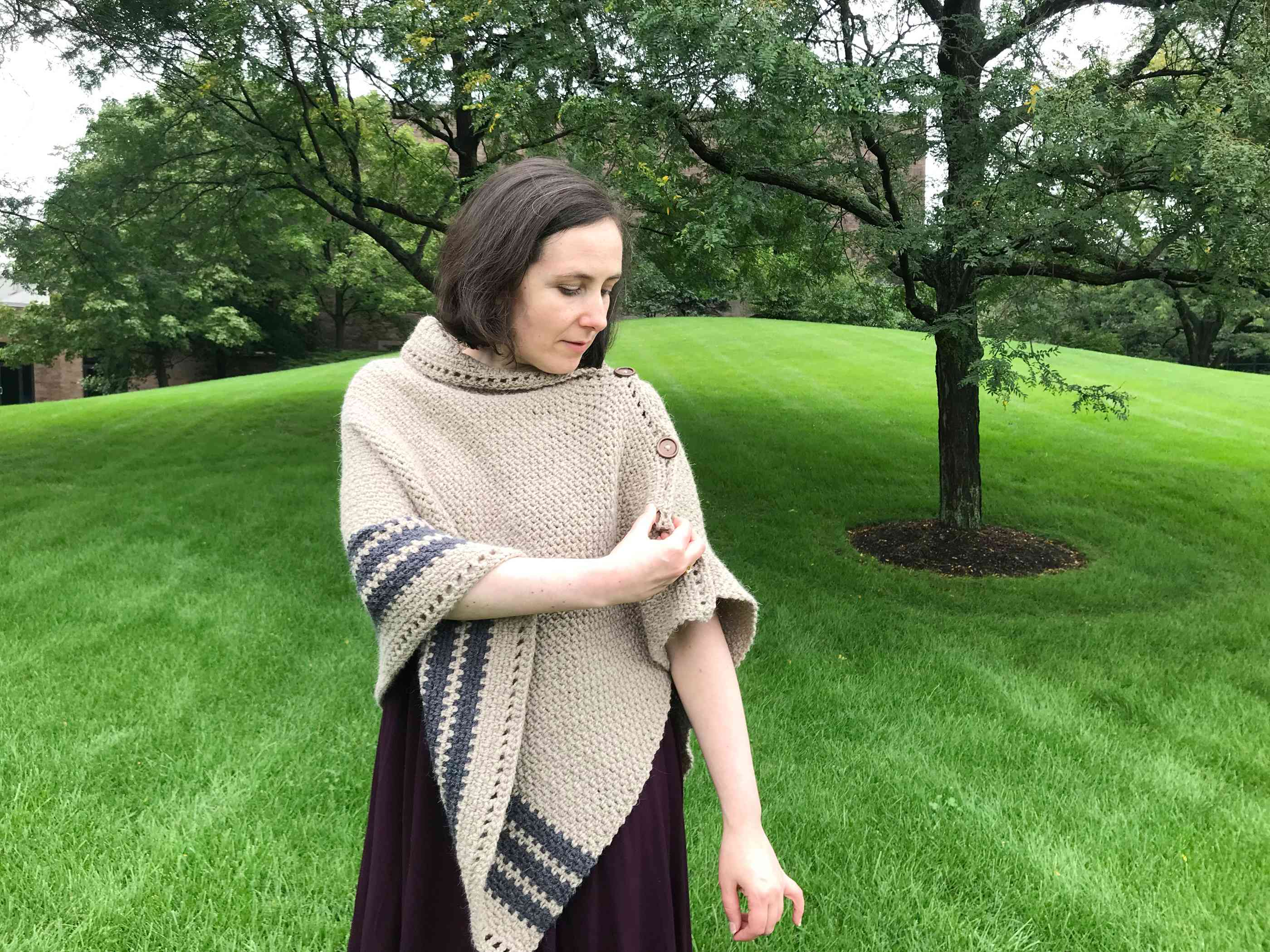 Changing the Buttoning on the Crochet Poncho