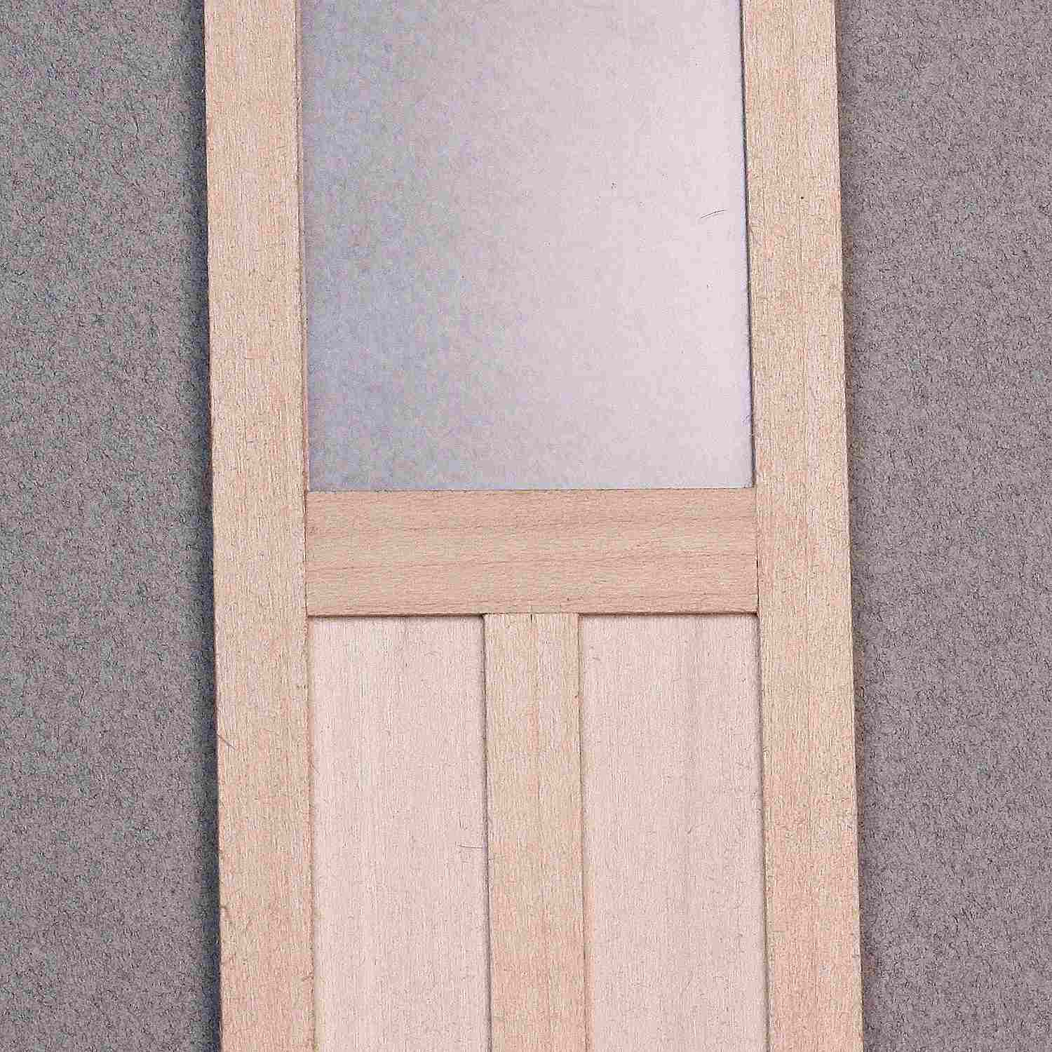 Simple dolls house door with window and panel trim.