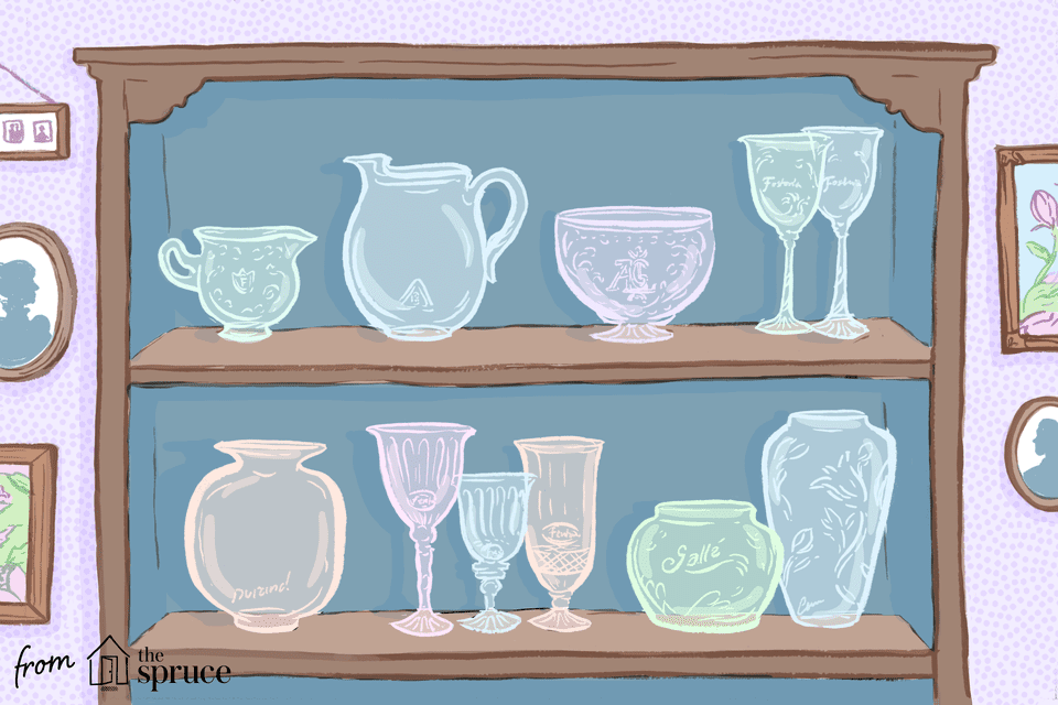 Illustration of glass in display case