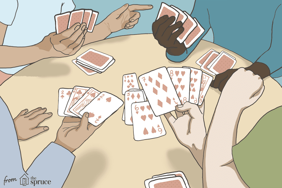 Illustration of hands playing euchre