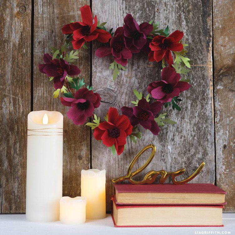 Crepe paper cosmos flower wreath