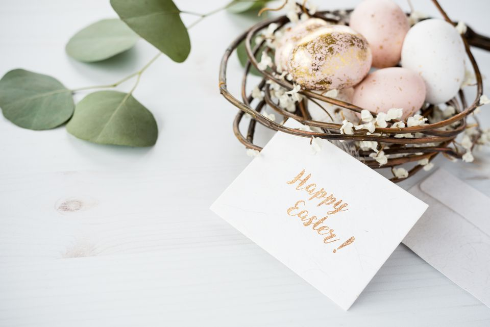 Easter greeting card mockup