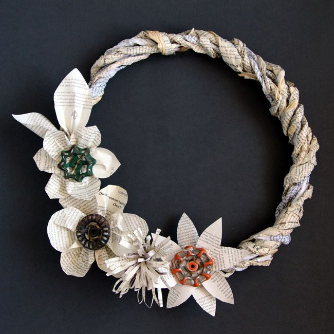 recycled book page wreath