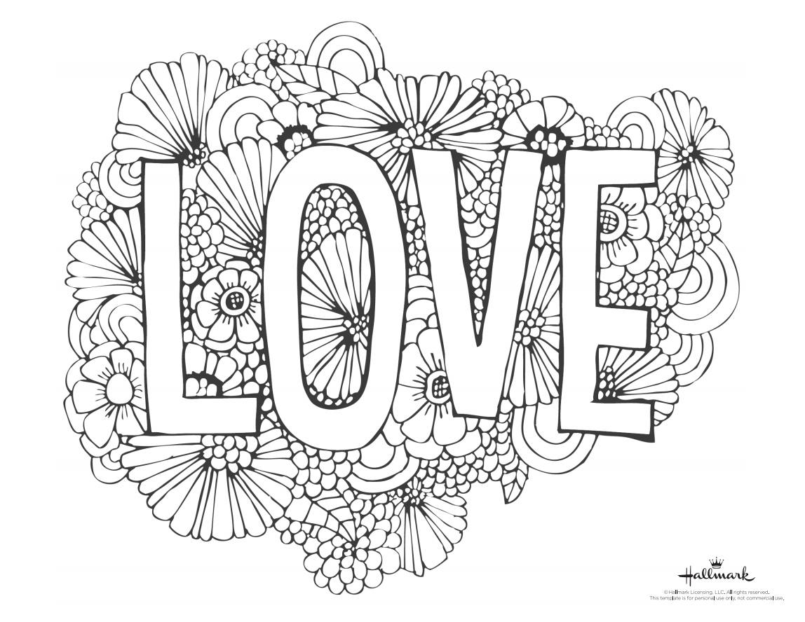 A Valentines Day Coloring Page With The Word Love And