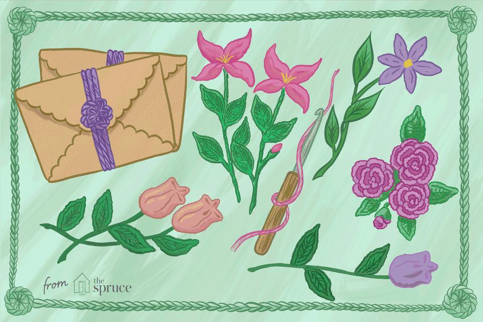 Illustration of crochet flowers