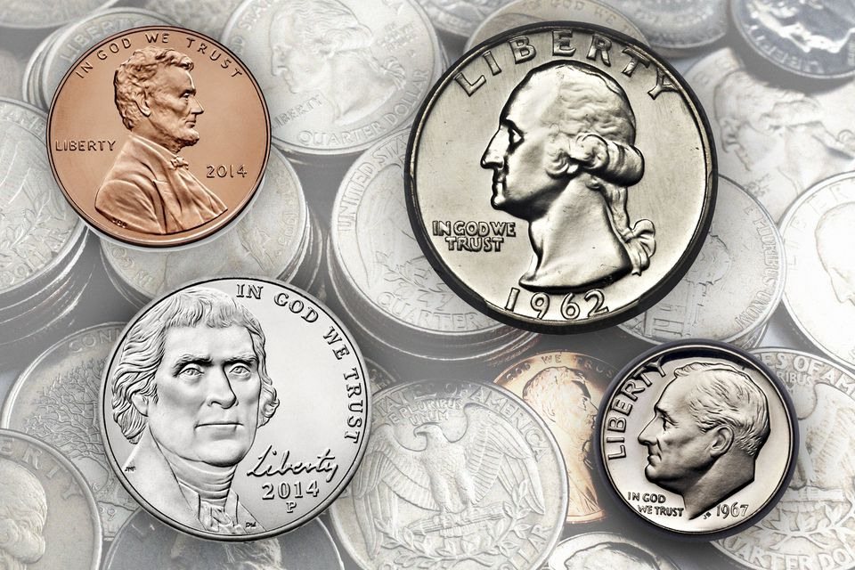 penny, nickel, dime, and Quarter and currently circulating United States coinage