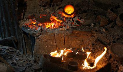 Fire in a pottery kiln