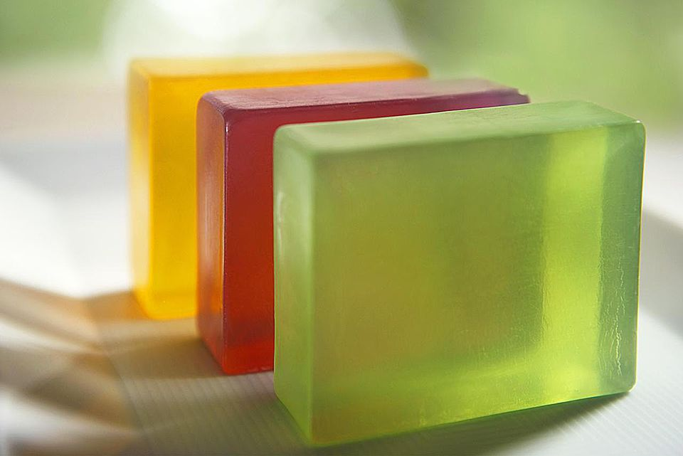 3 soaps made of glycerine, close up