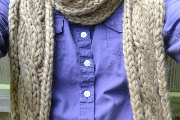 This bulky cabled scarf knits up in no time, but is kind of heavy.