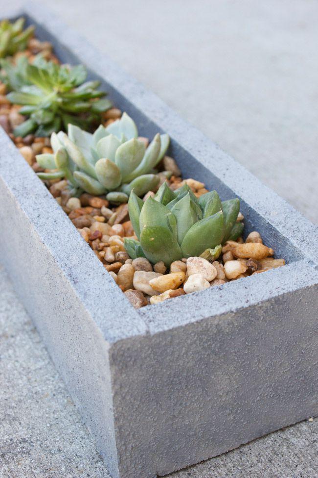 faux concrete wood planter
