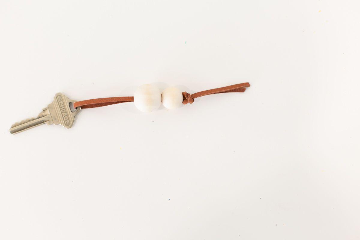 DIY beaded leather keyring