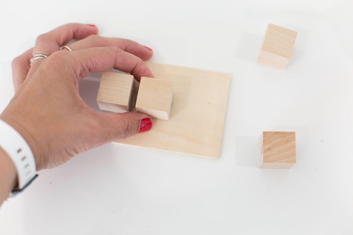 Wood blocks for a DIY key holder