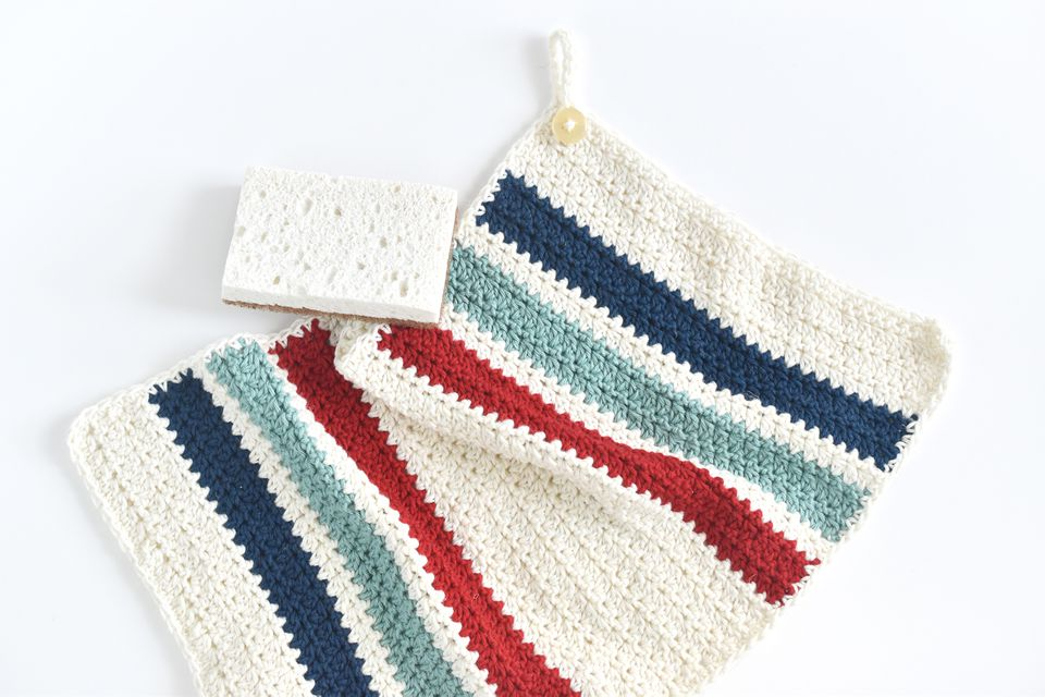 Crocheted hanging kitchen towel with blue and red stripes