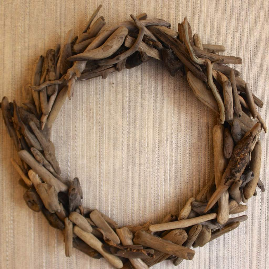 Wreath made out of driftwood pieces.