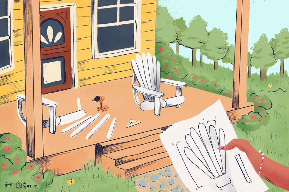 Adirondack chair on porch illustration