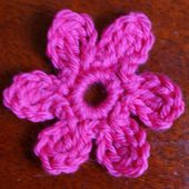 Flower Applique Crocheted Using Treble Crochet Stitch and Other Basic Crochet Stitches