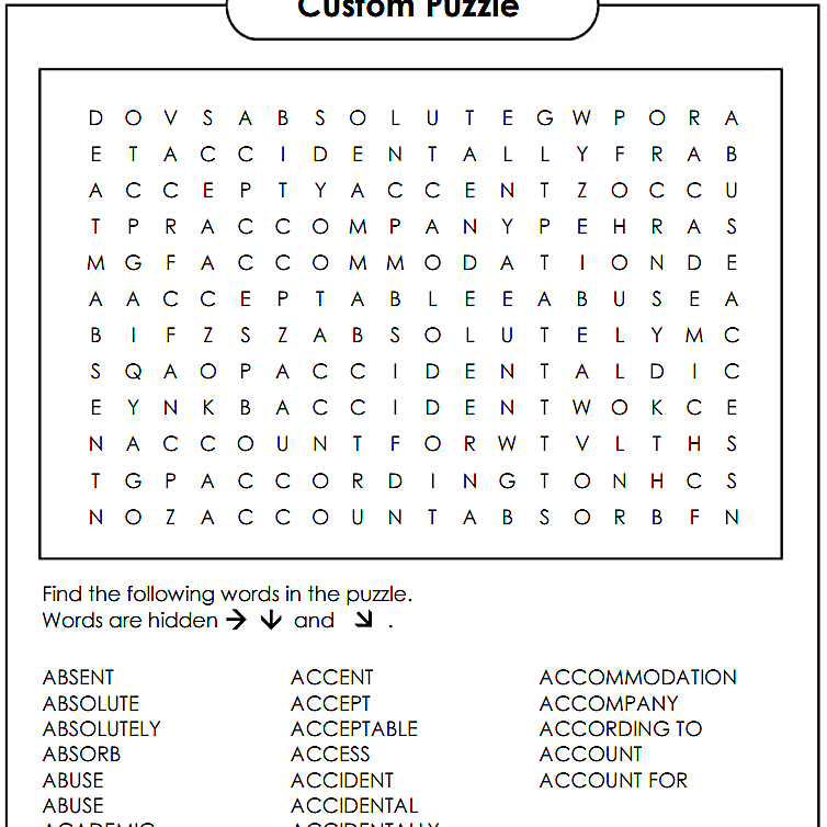 Make Your Own Free Word Search Puzzle