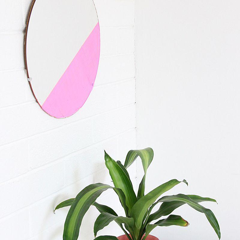 DIY Pink Iridescent Mirror