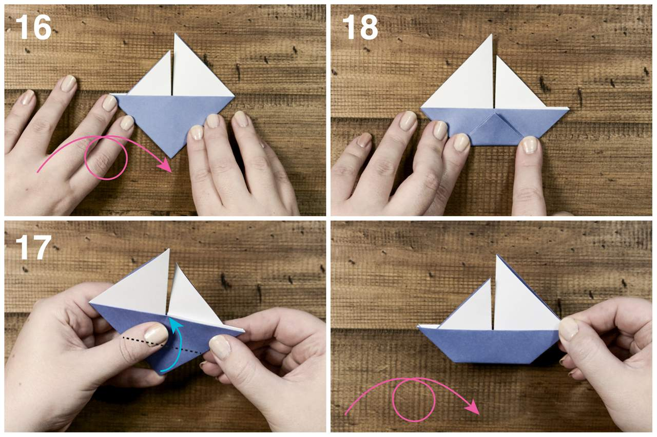Folding the paper to create the bottom of the origami sailboat.
