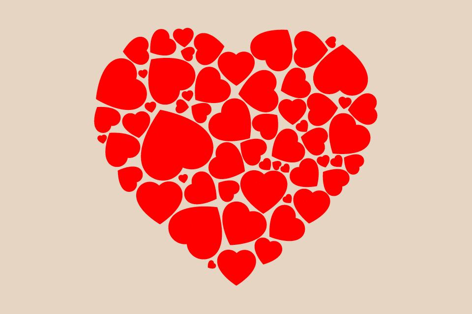 Screenshot of a heart clip art made up of many smaller hearts