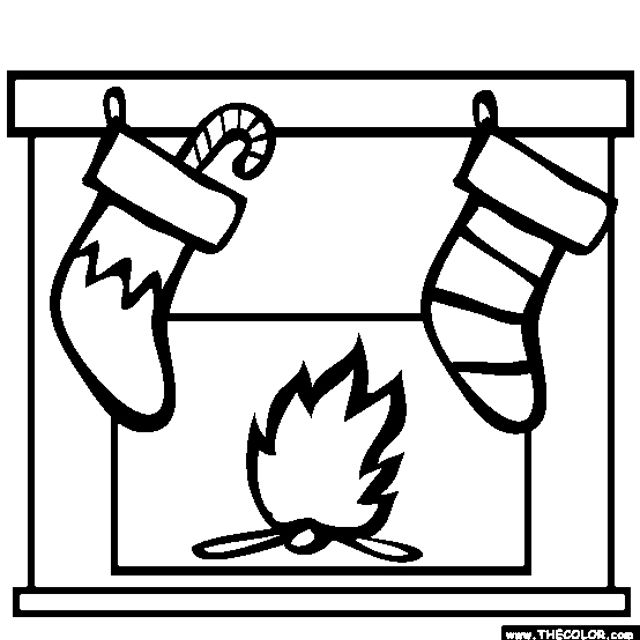 christmas coloring pages at thecolorcom stockings on a fireplace mantle