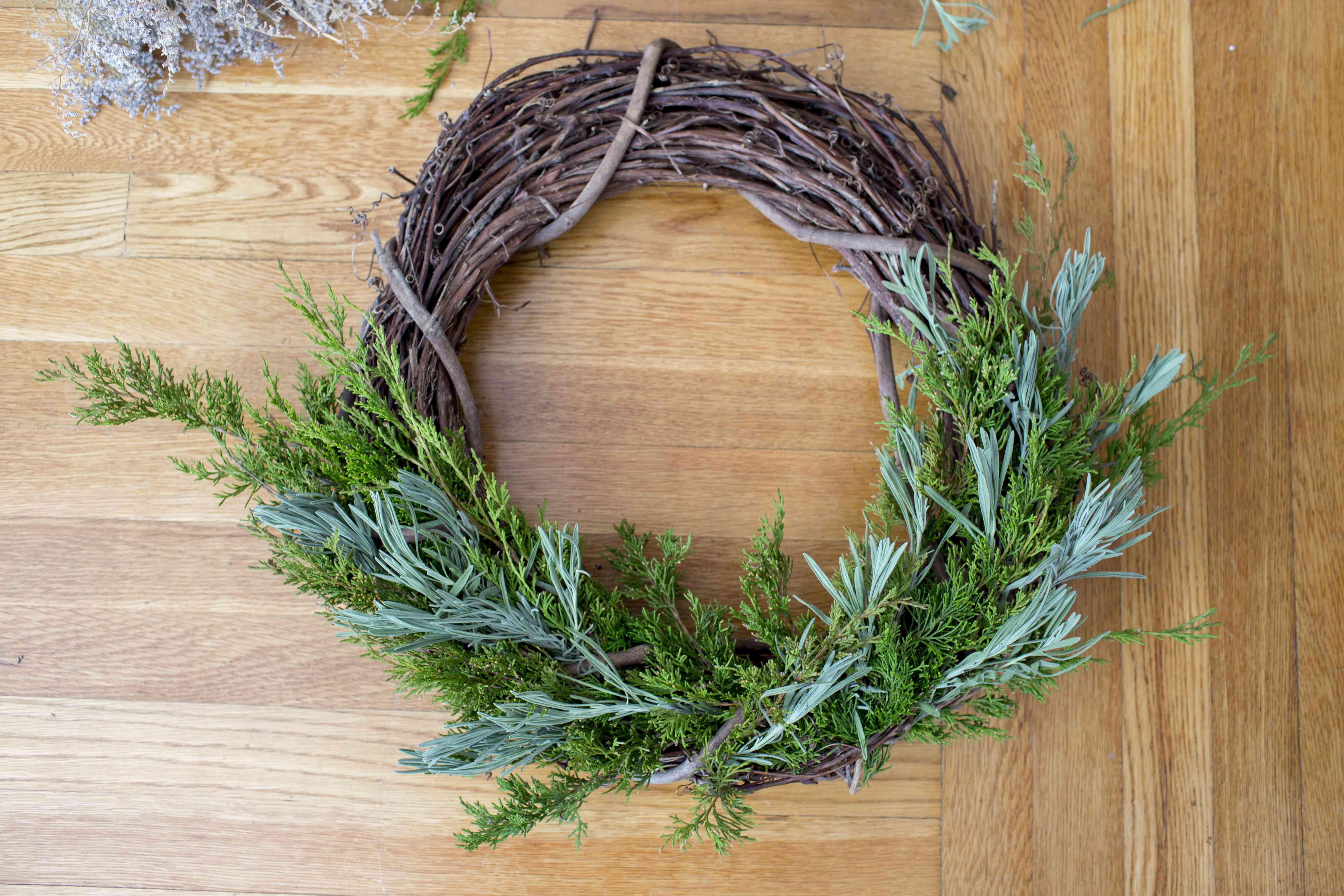 Add lavender to wreath
