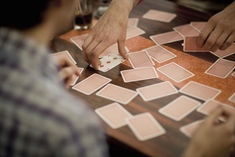 cards scattered across a table