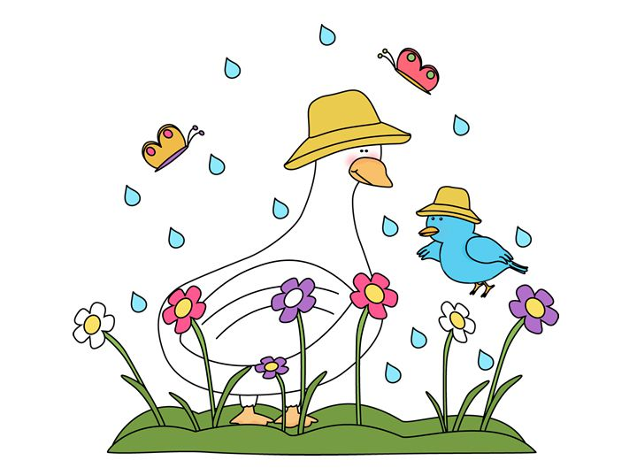 211 free spring clip art images for all your projects free spring clip art at my cute graphics a duck bird butterflies and flowers caught in the rain mightylinksfo