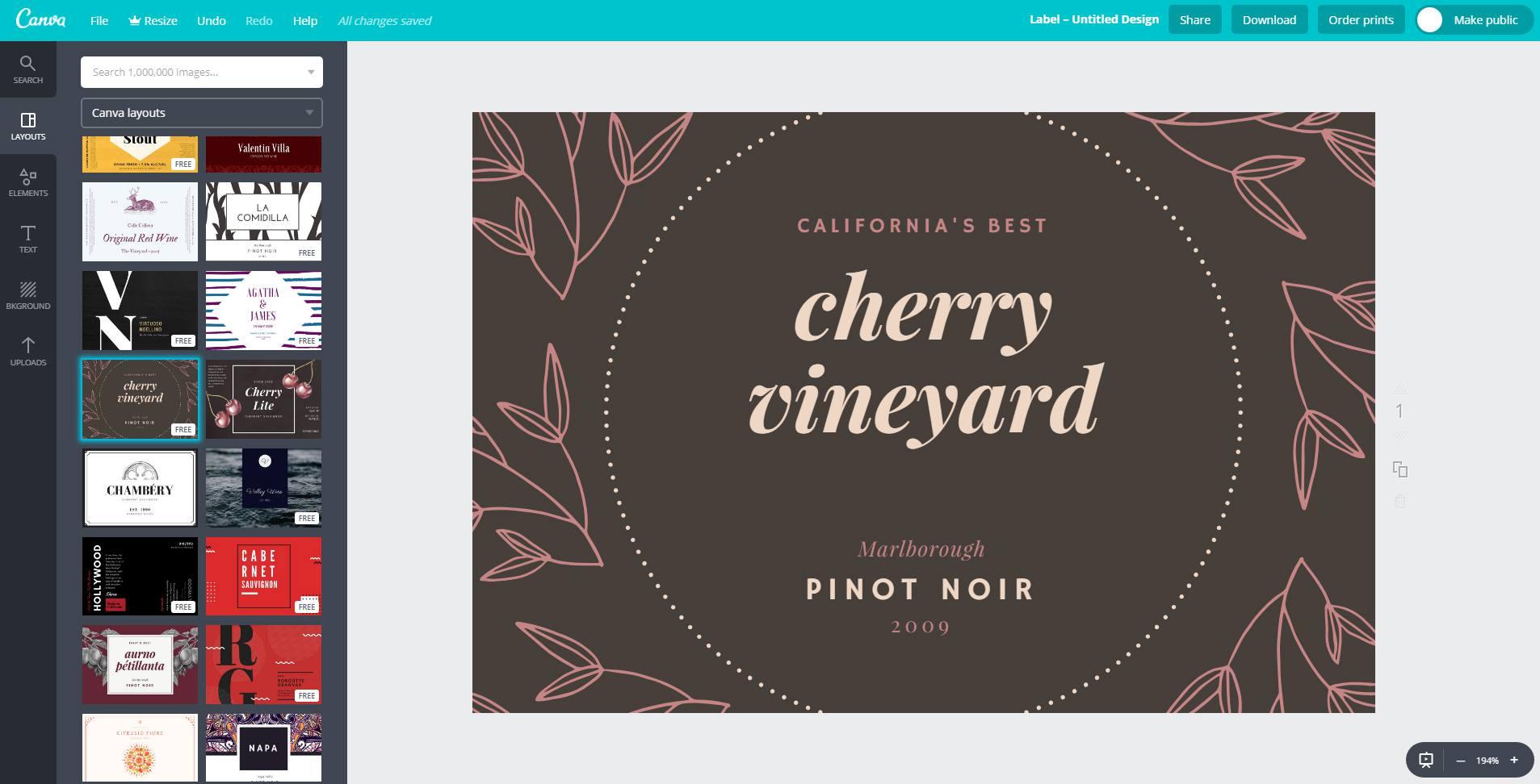 Customizing a wine label in Canva