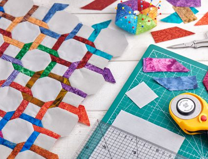 Quilting and sewing accessories, fragment and detailes of quilt