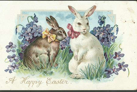 Easter Postcard With Rabbits 1906