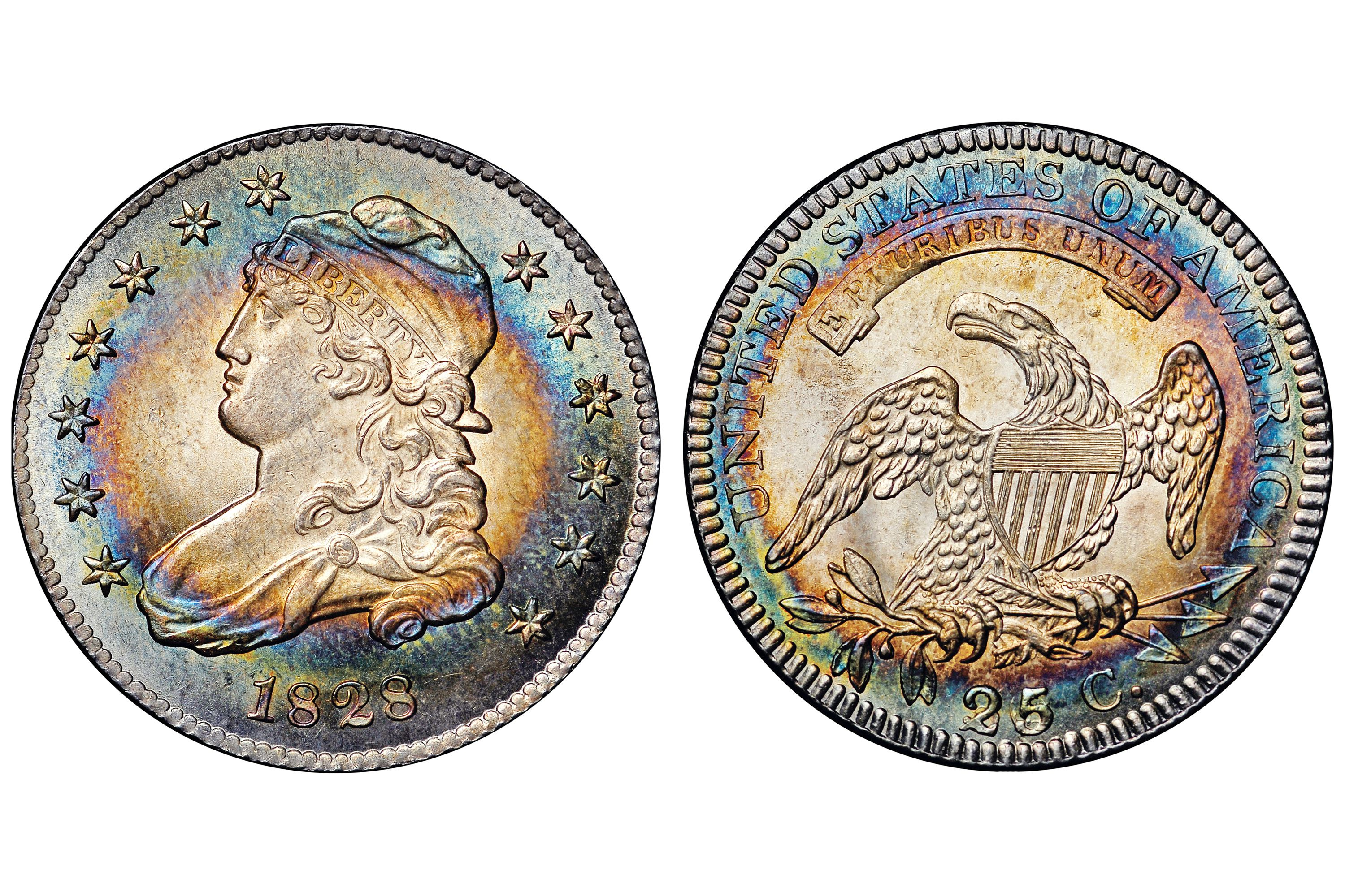 1828 Capped Bust Quarter - Repunched Denomination 25/5/50C