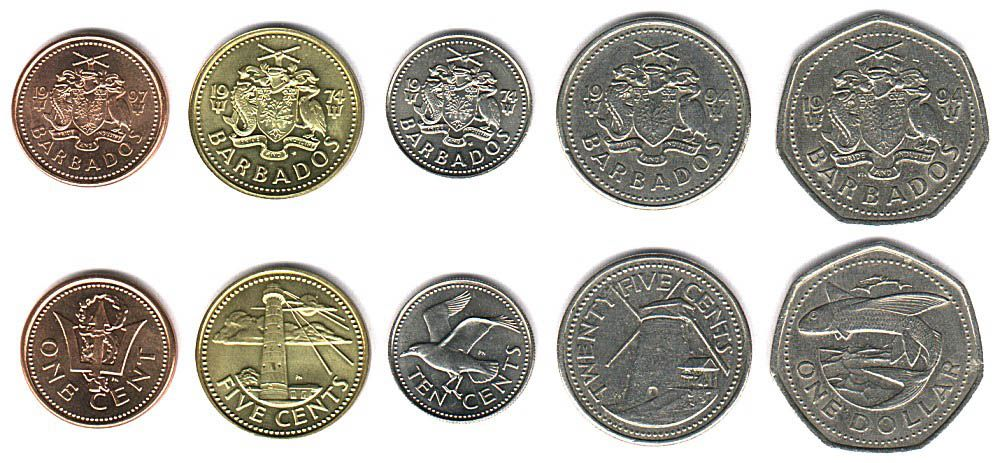 These coins are currently circulating in Barbados as money.