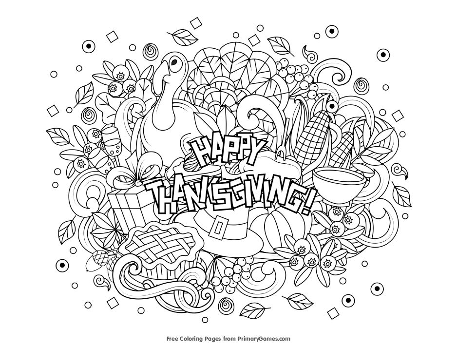 A Happy Thanksgiving Coloring Page With All Sorts Of Images