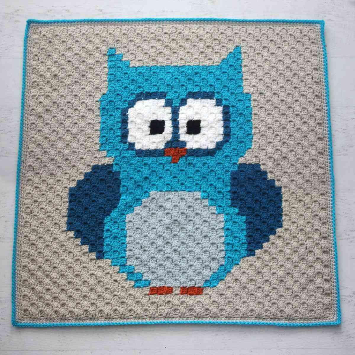 C2C Crochet Owl Blanket Free Pattern