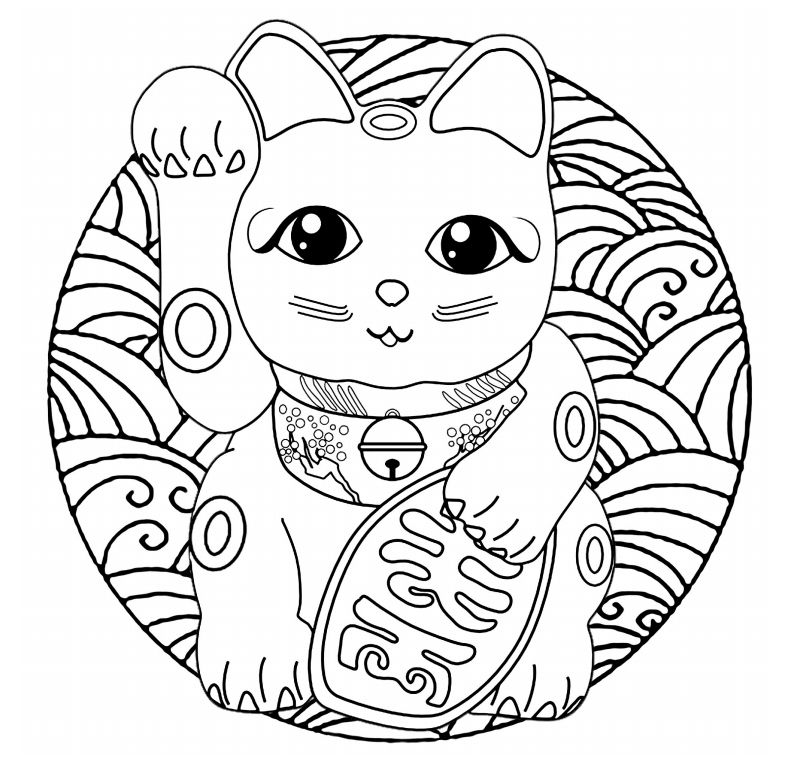 A Japanese Lucky Cat In The Form Of Mandala Coloring Page
