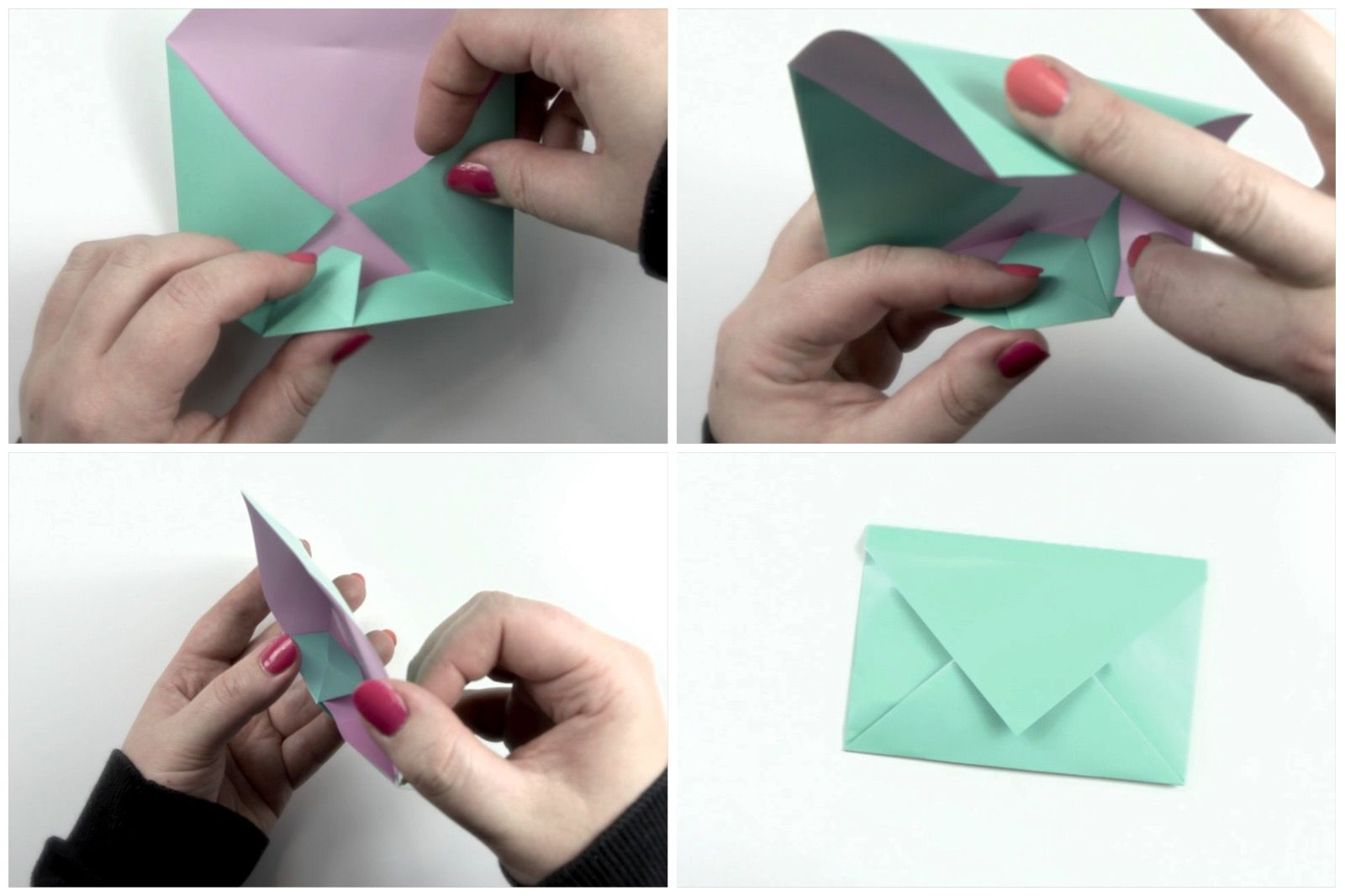 Final folds of an origami envelope