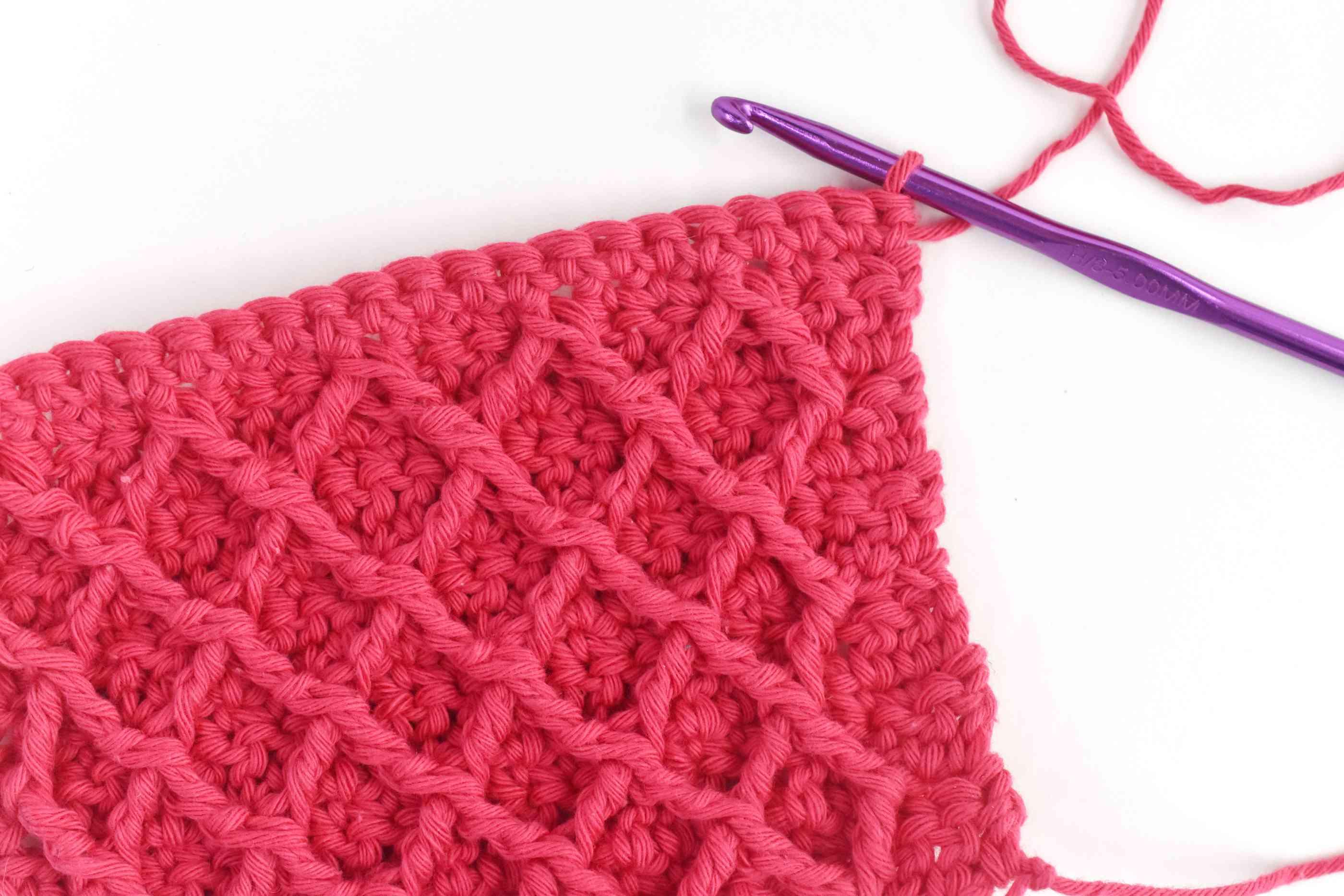 Diamond Waffle Crochet Stitch Swatch