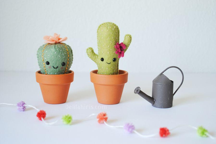Kawaii Felt Cacti Plush as DIY Pincushions