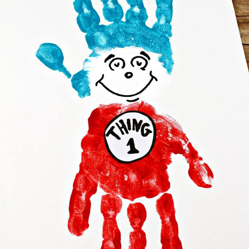 Thing 1 and 2 Hand Print Art
