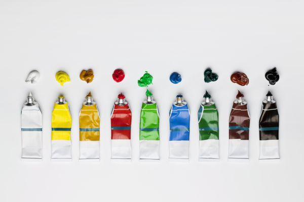 A row of oil paint tubes