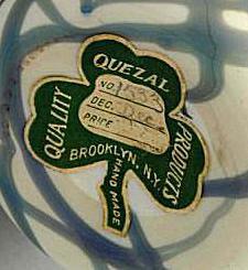 Quezal Art Glass Paper Label Mark