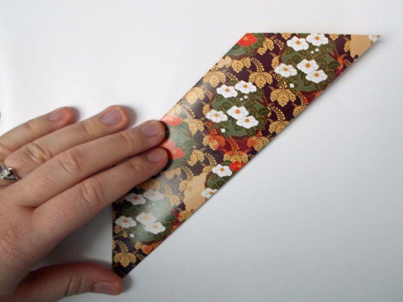 Origami paper folded in half