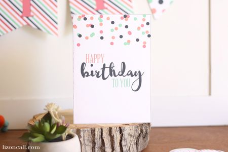 a polka dot birthday card on a table