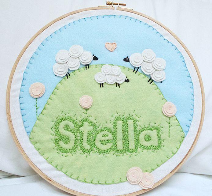 Baby Name Art Felt Embroidery DIY