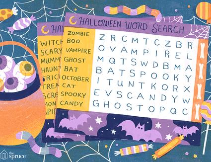 Illustration of Halloween crossword puzzle