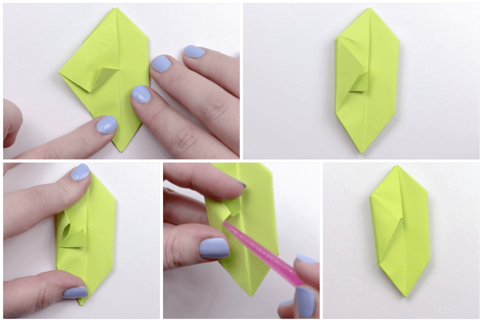 Folding the apple paper into a hexagon shape.